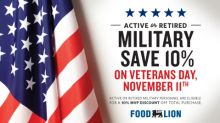 Food Lion to Offer 10 Percent Discount for Active and Retired Military Personnel on Veterans Day