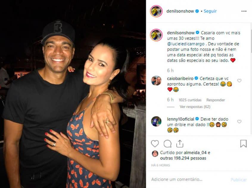 Publicação de Denilson para Luciele di Camargo (Foto: Divulgação/Instagram)