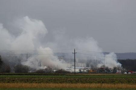 Smoke rises from Austria's largest natural gas import and distribution station after a gas explosion in Baumgarten