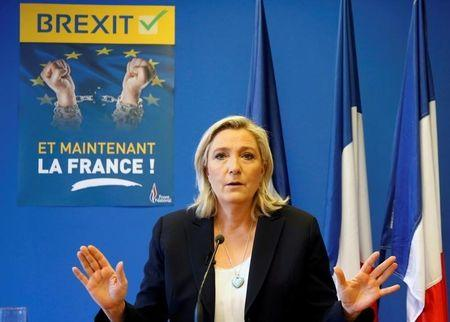 Marine Le Pen, France's far-right National Front political party leader, speaks during a news conference at the FN party headquarters in Nanterre near Paris after Britain's referendum vote to leave the European Union, France, June 24, 2016. REUTERS/Jacky Naegelen