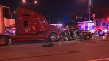 Brampton intersection closed after tractor-trailer slams into taxi, injuring two