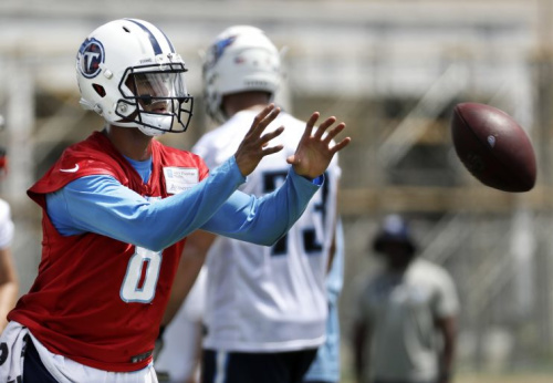 Marcus Mariota is recovering from a broken leg suffered late last season. (AP)