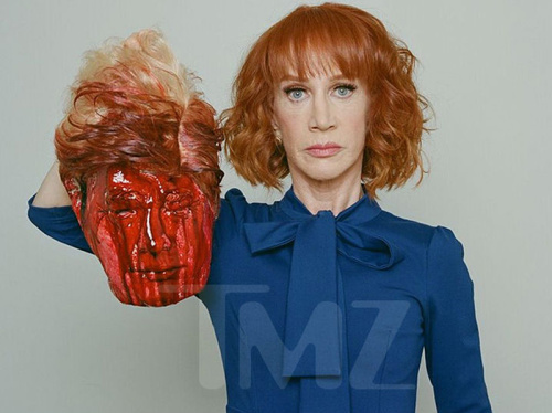 Here is the offending photo of Kathy Griffin holding Trump's