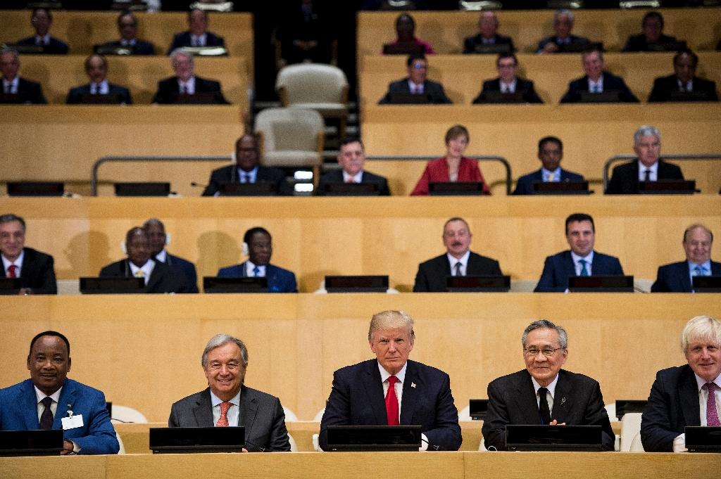 UN Secretary-General Antonio Guterres, US President Donald Trump and other participants at a meeting on United Nations Reform at the UN headquarters in New York City in September 2017 (AFP Photo/Brendan Smialowski)