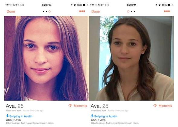 The robotic star of 'Ex Machina' is toying with hapless SXSW attendees on Tinder