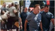 Shocking footage shows Arnold Schwarzenegger being drop-kicked by 'idiot' fan