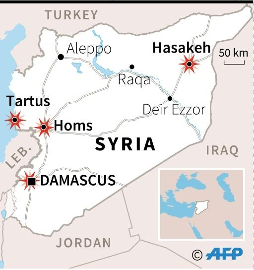 Map of Syria locating bomb attacks in mainly goverment-controlled areas (AFP Photo/afp)