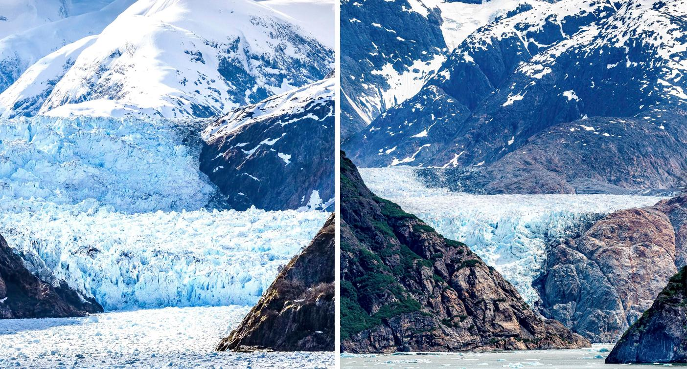 Alarming photos show melting glaciers several years apart