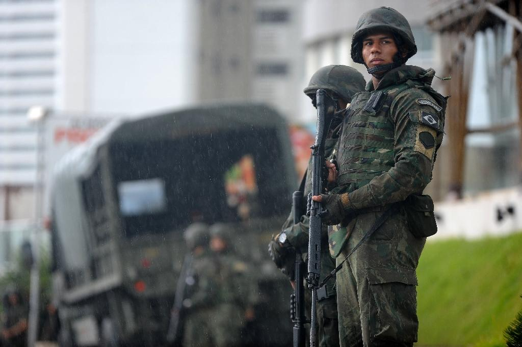 Army troops patrol the streets of Natal, Rio Grande do Norte, Brazil on January 22, 2017