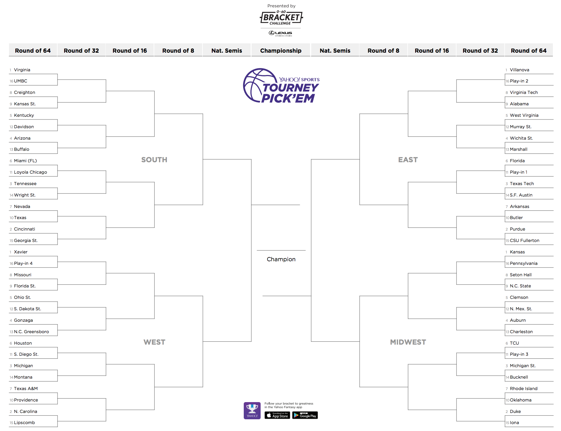 Ncaa Tournament Printable Bracket 2018
