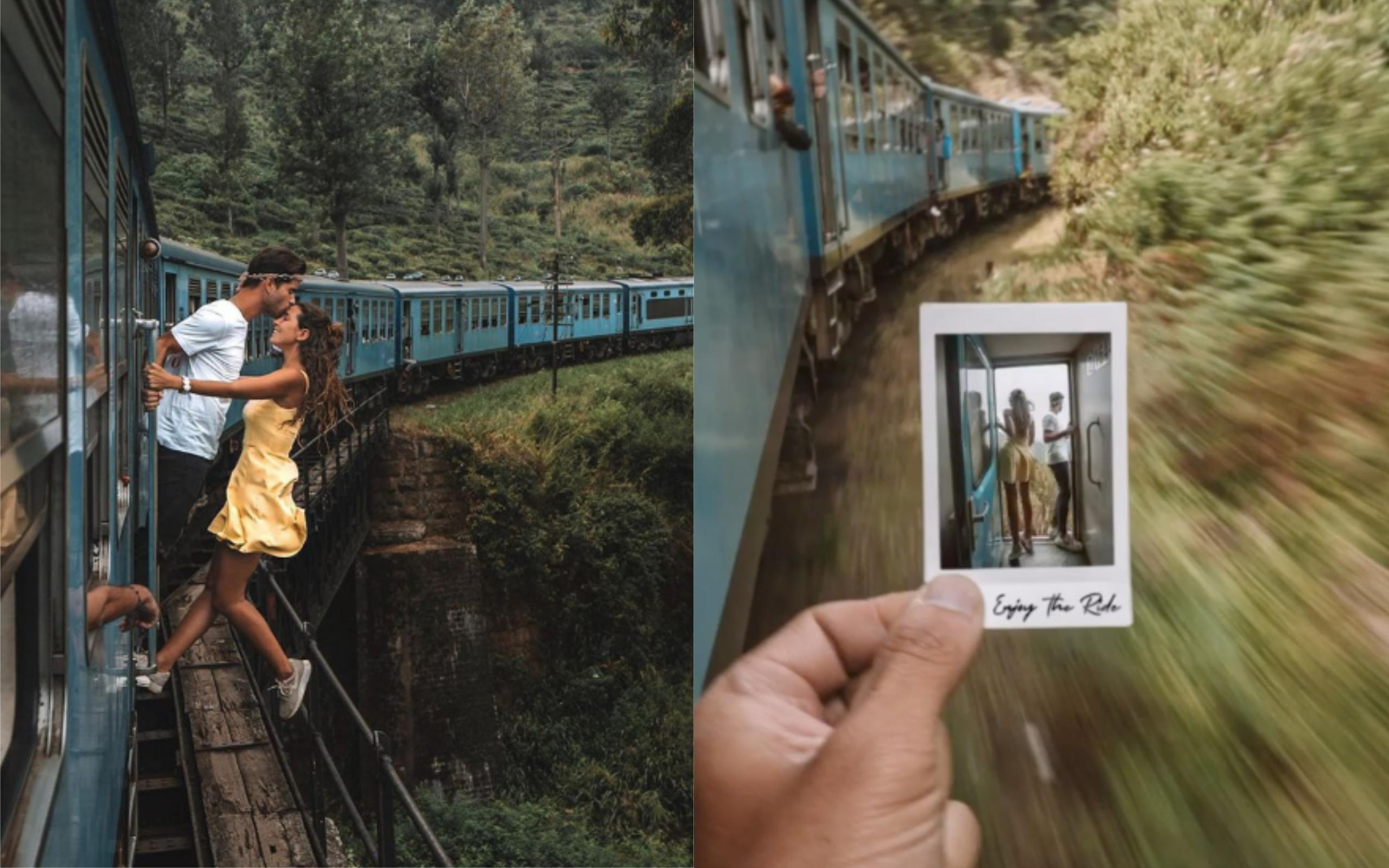 Bloggers slammed for taking pic while hanging off train