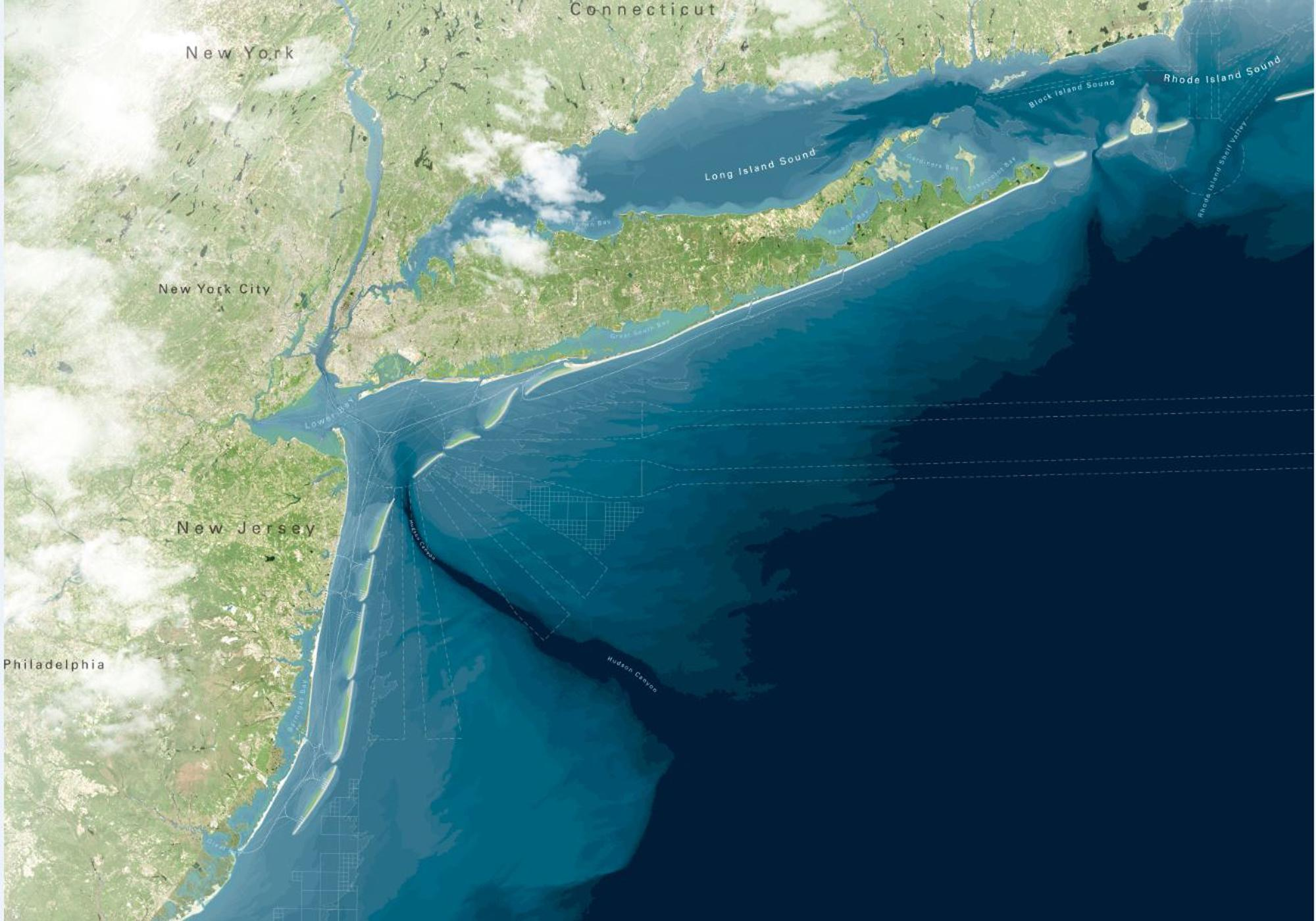 """This artist rendering provided by WXY/West 8/Stevens Institute of Technology shows a proposed project to create a string of artificial barrier islands off the coast of New Jersey and New York to protect the shoreline from storm surges like the ones that caused billions of dollars' worth of damage during Superstorm Sandy. The """"Blue Dunes"""" project, conceived by New Jersey's Stevens Institute of Technology and two architectural firms, would cost $10 billion to $12 billion, and would stretch from central Long Island, N.Y., to the southern tip of Long Beach Island in New Jersey. Many logistical, political, financial and technical issues would have to be overcome before the project could be built. It is part of the Rebuild By Design contest being held by the U.S. Department of Housing and Urban Development to solicit new ideas to protect the region from future storms. (AP Photo/WXY/West 8/Stevens Institute of Technology)"""