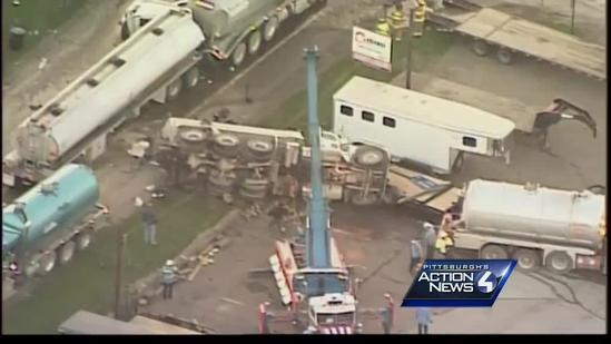 3 tanker trucks crash in Canton Township