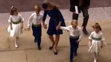 Royal wedding pageboy topples over on chapel steps in adorable moment