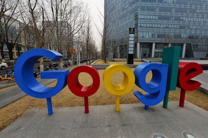 BEIJING, CHINA - MARCH 10 2021: A view of the company logo outside the building hosting Google's Beijing office March 10, 2021. PHOTOGRAPH BY Feature China / Barcroft Studios / Future Publishing (Photo credit should read Feature China/Barcroft Media via Getty Images)