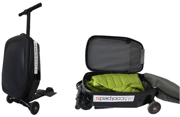 Flughafenschreck: Rollkoffer mit Elektroantrieb und Trittbrett