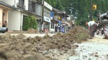 Bild der Zerstörung in japanischen Überschwemmungsgebieten