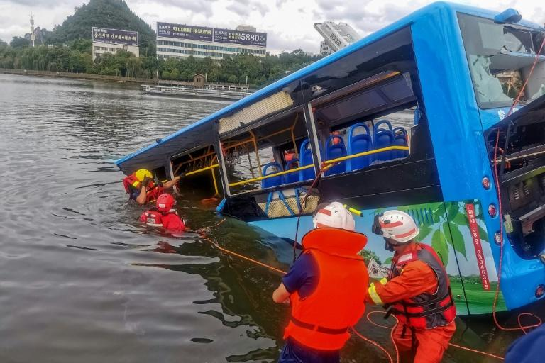 The bus careered into a lake in the city of Anshun, killing 21 people including students heading to their college entrance exams
