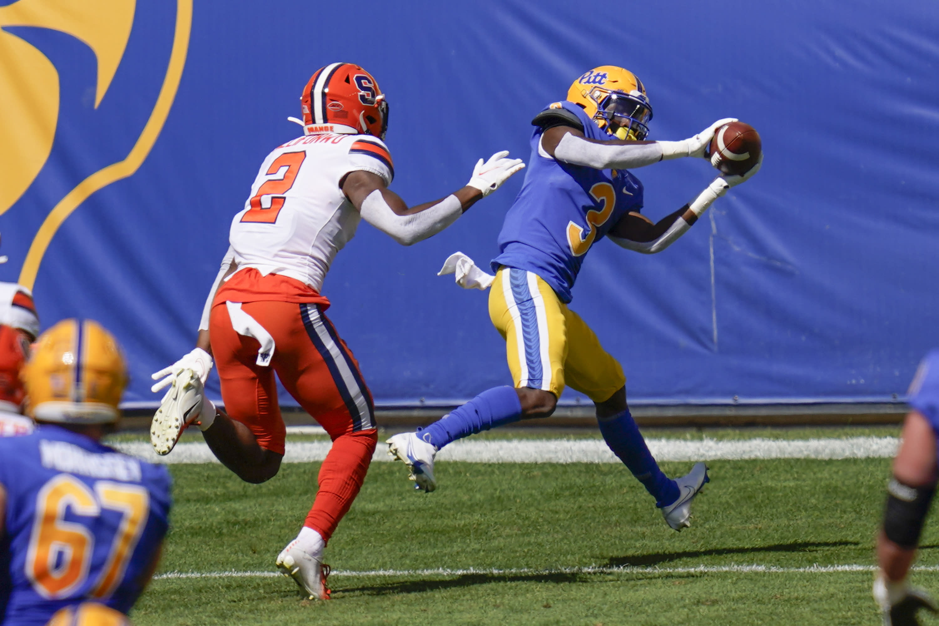 Pittsburgh wide receiver Jordan Addison (3) makes a touchdown reception ahead of Syracuse defensive back Ifeatu Melifonwu (2) during the first half of an NCAA college football game, Saturday, Sept. 19, 2020, in Pittsburgh. (AP Photo/Keith Srakocic)