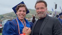Arnold Schwarzenegger congratulates his son Joseph Baena as he graduates college