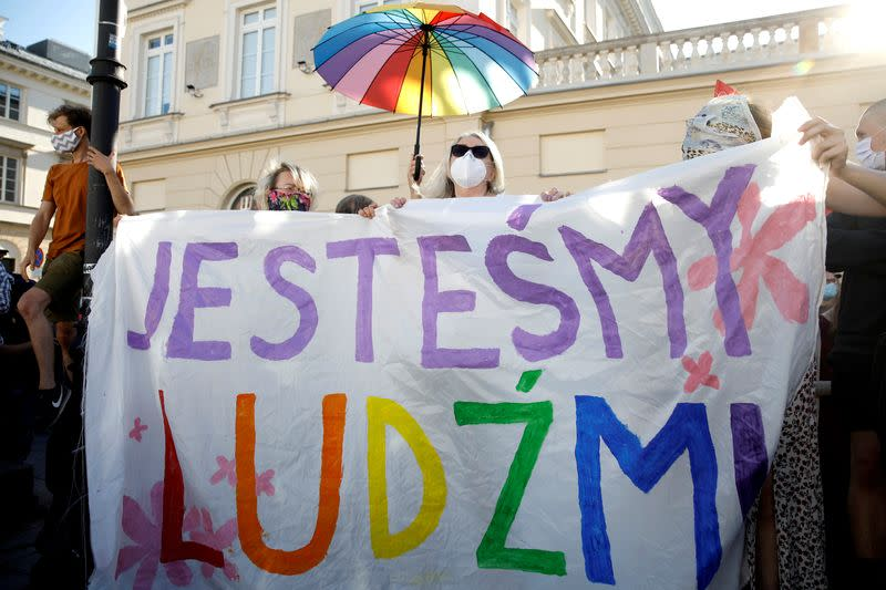 """FILE PHOTO: Polish nationalists gather to protest against what they call """"LGBT aggression"""", in Warsaw"""