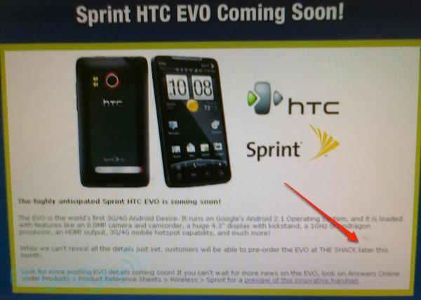 Sprint HTC EVO pre-orders start this month at The Shack