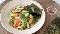 Brown Rice with Salmon, Avocado, and Toasted Nori