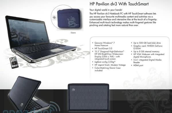 Touchscreen HP Pavilion dv3 leaks out, brings dm1 ultraportable and Core i7 dv8 along for the ride