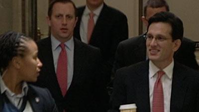Raw: Boehner and Cantor Arrive at House