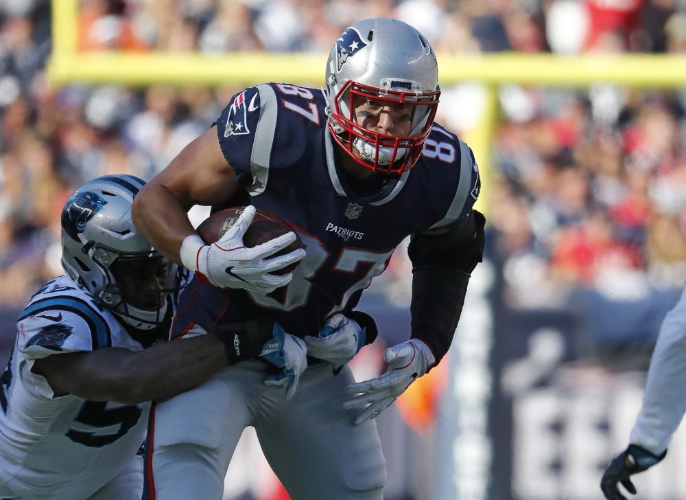 New England Patriots tight end Rob Gronkowski will miss Thursday night's game against Tampa Bay. (AP)