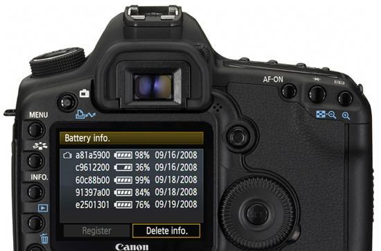 Canon's EOS 5D Mark II displays multiple LP-E6 battery capacities