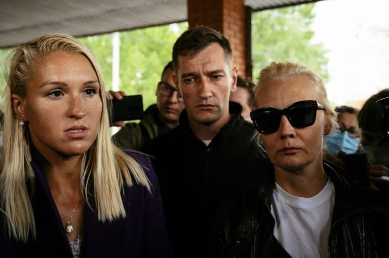 Navalny's wife was accompanied by his personal physician Anastasia Vasilyeva (L) and his brother Oleg Navalny