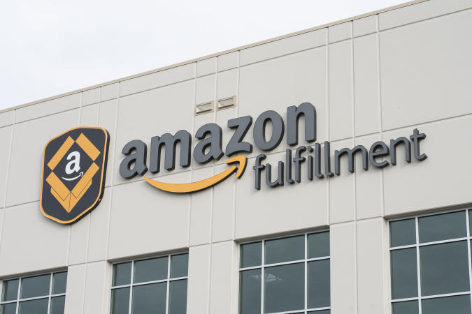 The Amazon Fulfillment Center is seen September 21, 2018 in Kent, Washington. (Photo by Grant HINDSLEY / AFP)        (Photo credit should read GRANT HINDSLEY/AFP via Getty Images)