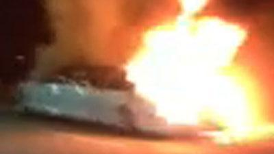 Raw: Passing Motorist Captures Calif. Limo Fire