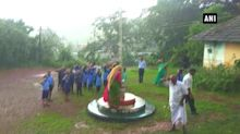 Students continue singing national anthem amid heavy rainfall in Mangaluru