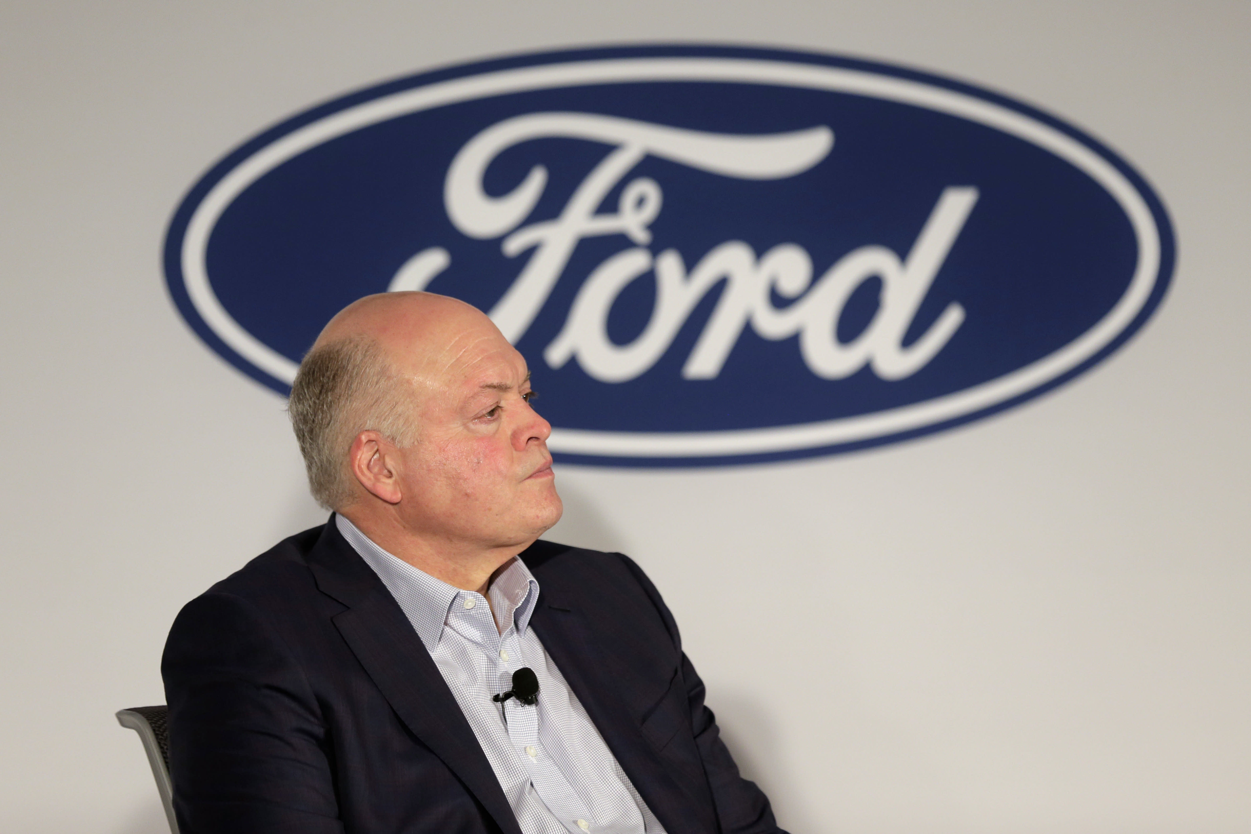FILE - In this July 12, 2019, file photo Ford CEO Jim Hackett participates in a news conference in New York. Ford Motor Co. reports earning on Wednesday, July 24, 2019. (AP Photo/Seth Wenig, File)