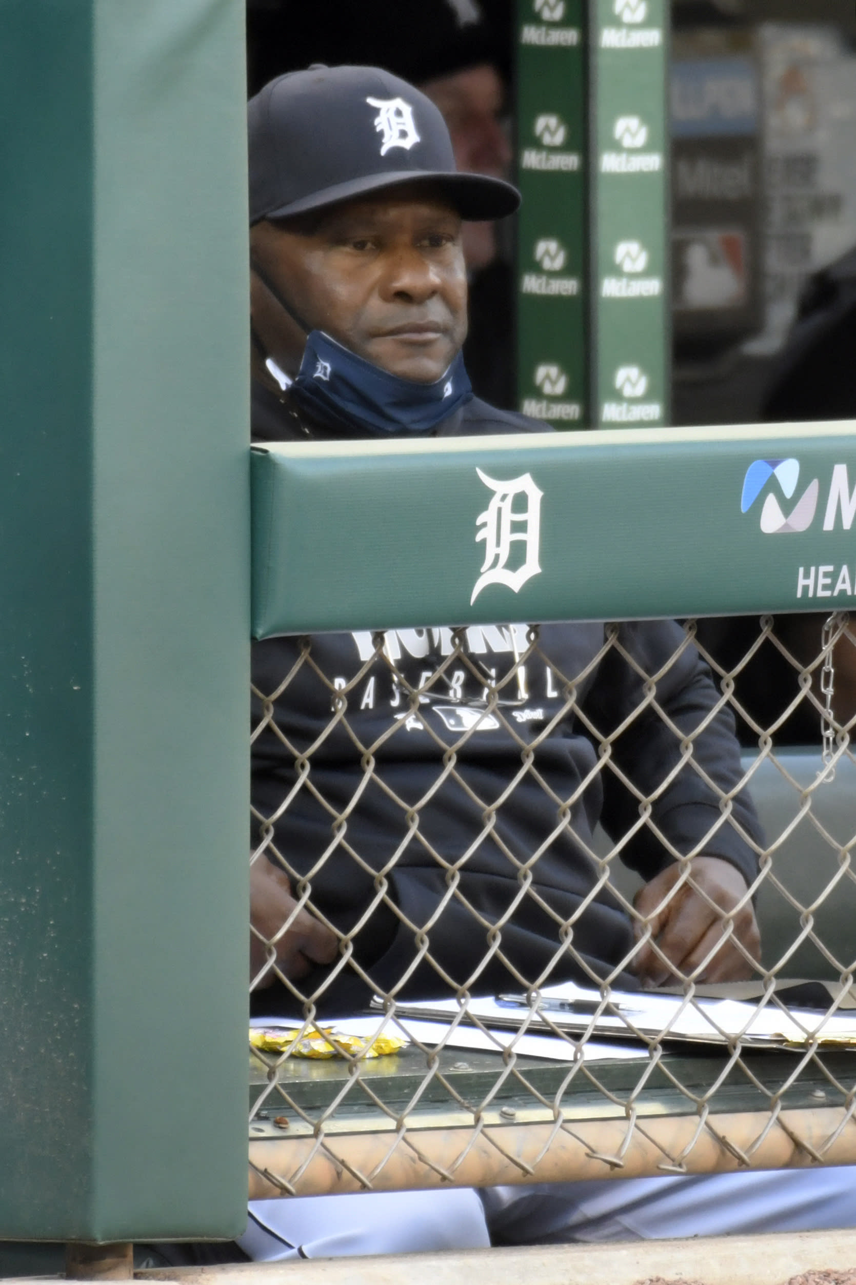 Detroit Tigers manager Lloyd McClendon watches his team play against the Cleveland Indians in the first inning of a baseball game, Saturday, Sept. 19, 2020, in Detroit. McClendon is now the manager of the Tigers after Ron Gardenhire announced his retirement earlier in the day. (AP Photo/Jose Juarez)