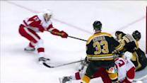Datsyuk buries the rebound behind Rask on PP
