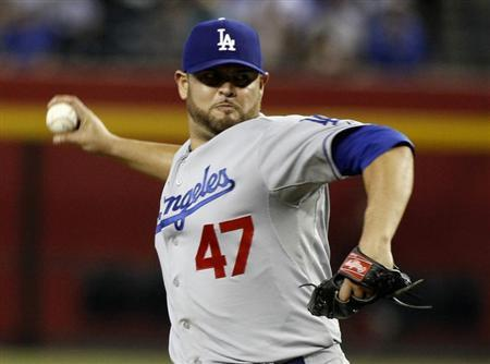 Los Angeles Dodgers' Nolasco delivers pitch against Arizona Diamondbacks during their MLB game in Phoenix