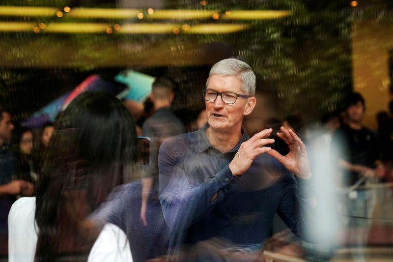 Image result for Tim Cook at an Apple store in Shanghai in October, ALY SONG, picture