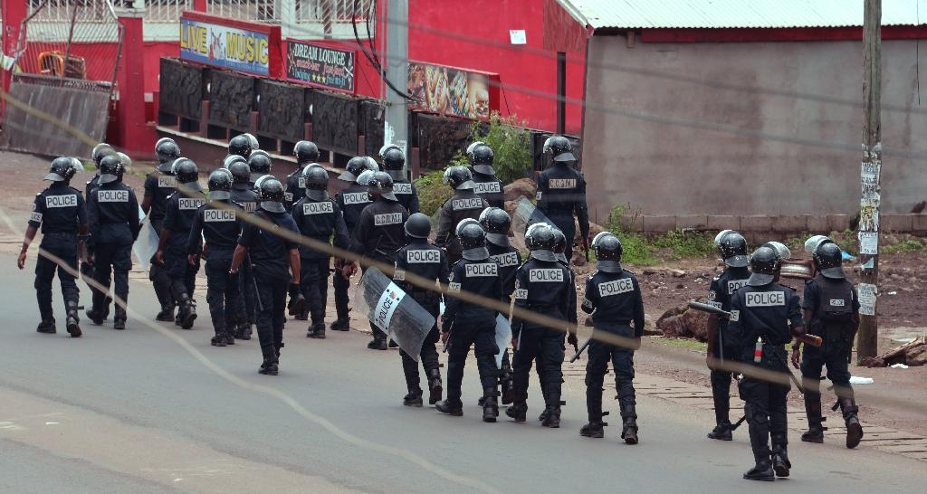 Cameroon police in Buea on October 1, 2017 when at least 40 pro-anglophone protesters were killed (AFP Photo/STR)