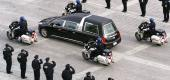 A hearse carryies the body of Capitol Police Officer Brian Sicknick. (AP)