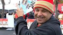 Excited 49er fans pick up tickets for the Super Bowl
