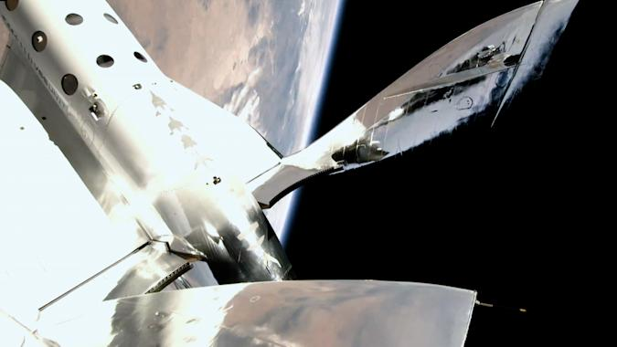 Virgin Galactic SpaceShipTwo in space during Unity 22 mission