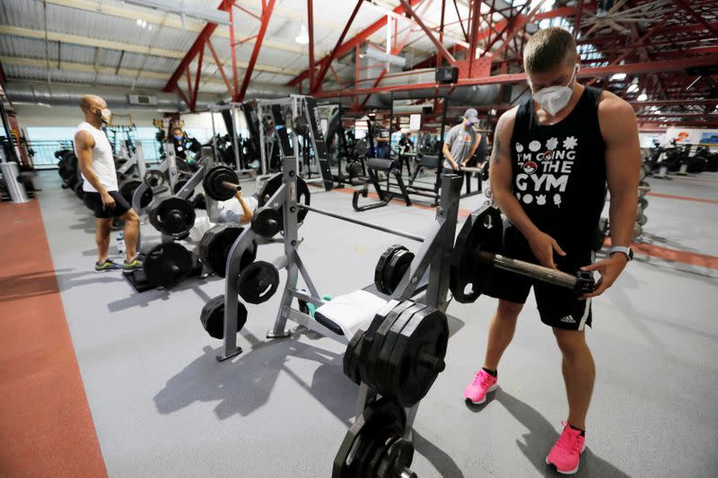 Members exercise at Chelsea Piers Fitness, Manhattan's largest fitness facility on first day of re-opening of gyms in New York