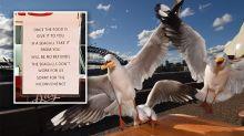 'The seagulls don't work for us': Sign outside restaurant sparks timeless debate