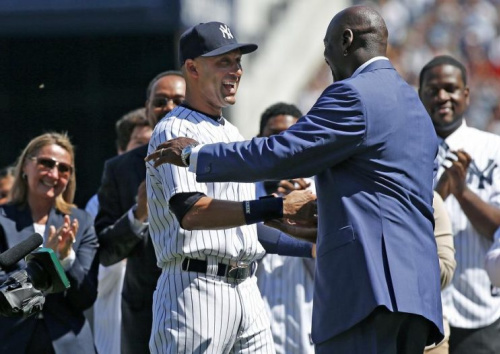 Derek Jeter and Michael Jordan (pictured at Jeter's Yankee Stadium retirement ceremony) have developed a bond that has only grown since they first met in 1994. (AP)
