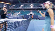 Tennis star's brutal sledge for teen rival during handshake
