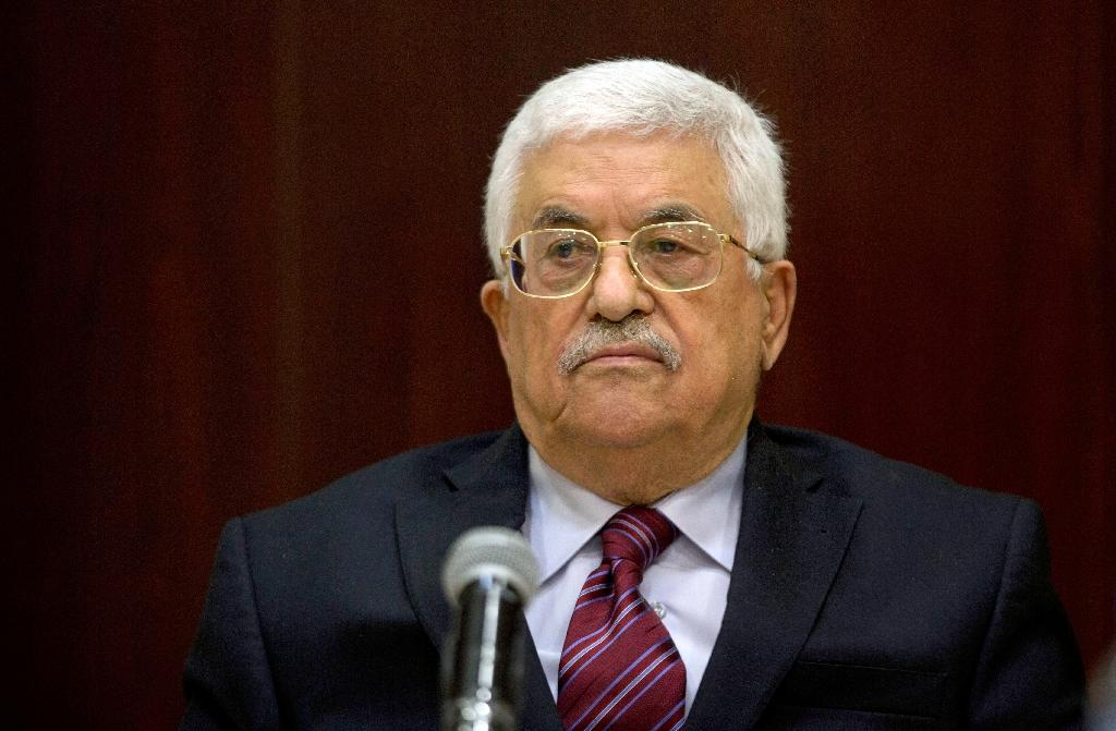Palestinian President Mahmud Abbas chairs a meeting of the executive committee of the Palestine Liberation Organization in the West Bank city of Ramallah on August 22, 2015