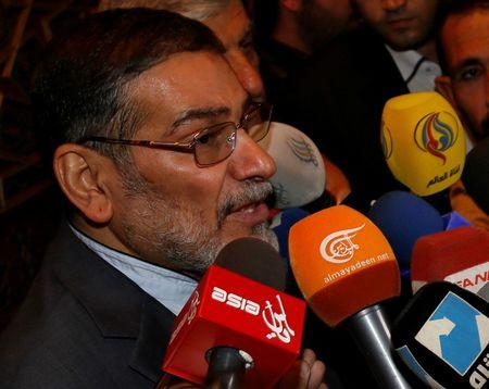 FILE PHOTO: Admiral Ali Shamkhani, Iran?s Supreme National Security Council Director, speaks to the media after his arrival at Damascus airport